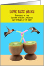Love Buzz Haiku Hummingbirds Kiwi Cocktails Funny Valentine's Day Card