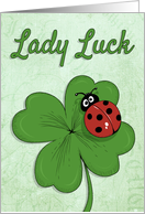 Ladybug on Shamrock with Retro Background for St. Patrick's Day card