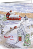 Sleigh Bells Ring in a Winter Wonderland Scene at Christmas card