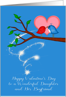 Valentine's Day to Daughter and Boyfriend, adorable birds with worm card
