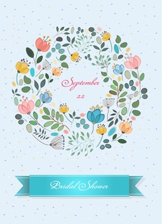 Floral wreath. Bridal Shower Invitation. Custom Text Front Greeting Card