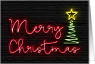 Neon Merry Christmas with Tree and Star, Black Brick Wall Background card