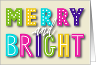 Merry and Bright, Fun and Festive Christmas, Colorful Typography card
